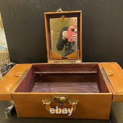 Vtg SHORTRIP Weekend Travel Train Case Jewelry Makeup Leather Midcentury Modern