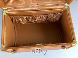 Vtg Samsonite Shwayder Tan Travel Train Makeup Vanity Streamline Luggage Case