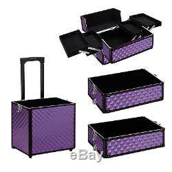 Warmiehomy 4 in 1 Aluminum Professional Makeup Trolley Vanity Case for Artists 2
