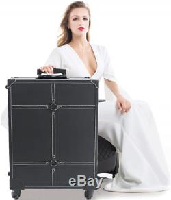 Wheeled Makeup Case with 6 Bulbs Lights Cosmetic Train Case Beauty Travel Box