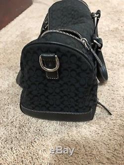 Womens COACH Train Makeup Travel Bag Case Satchel Luggage Black Canvas