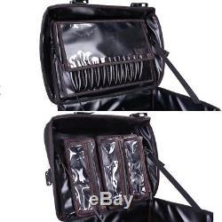 XL PU Rolling Makeup Train Case 13pcs Holders 8 Trays 4 Wheel Shoulder Strap