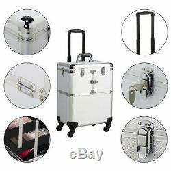 Yaheetech 19 Professional Rolling Makeup Case Cosmetic Train Case Trolley B