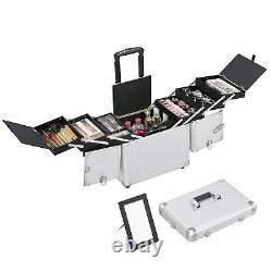Yaheetech 20In 360° Rotating Rolling Makeup Train Case Cosmetic Box Organizer