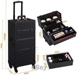 Yaheetech 3-in-1 Aluminium Rolling Trolley Professional Artist Makeup Train Case