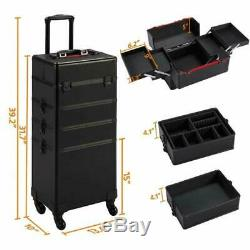 Yaheetech 4 In 1 Rolling Makeup Train Case Aluminum 4 Wheeled Cosmetic Trolley