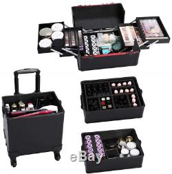 Yaheetech 4-in-1 Aluminum Cosmetic Case Professional Makeup Train Case, Large Box