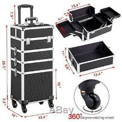 Yaheetech 4 in 1 Aluminum Rolling Cosmetic Makeup Train Case Trolley, 4 Wheels
