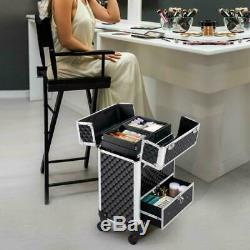 Yaheetech Aluminum Cosmetic Case Rolling Makeup Train Case 360-Degree Rotating