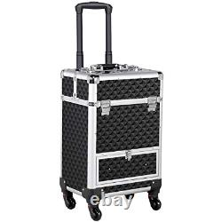 Yaheetech Makeup Train Case/Cosmetic Case/Trolley/Suitcase/Box Large Capacity 4
