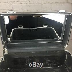 ZERO Halliburton Cosmetic Train Case Silver Aluminum with Mirror 16 x 9 x 8