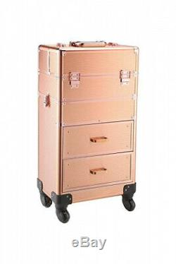 (gold) Rolling train case with drawers Makeup rolling train case Cosmetic