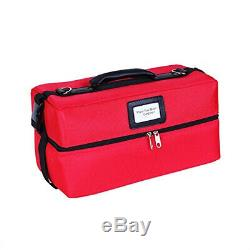 (red) Sunrise Portable Makeup Artist Train Case Nylon Cosmetic Bag with